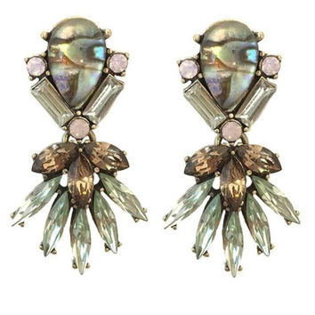 Crystal Orchid & Abalone Earrings