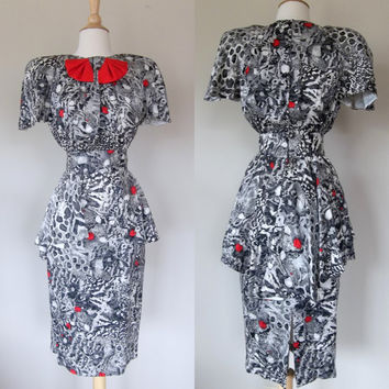 Vintage 80's black and white silk dress, red bow, Neiman Marcus peplum 40's inspired  print dress small medium