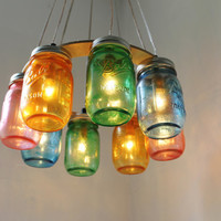 COLOR BURST Mason Jar Chandelier - Upcycled Hanging Mason Jar Lighting Fixture Direct Hardwire - BootsNGus Lamps Rustic Home Decor