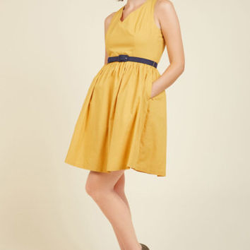 Zest of the Bunch A-Line Dress in Marigold | Mod Retro Vintage Dresses | ModCloth.com