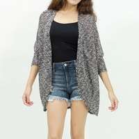 knit sweater 3/4 sleeve open long cardigan gray