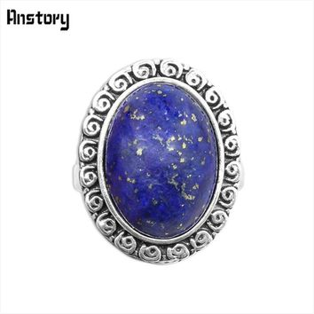Oval Lapis Lazuli Rings Vintage Natural Stone Rings Antique Silver Plated Party Rings For Women Wedding Gift