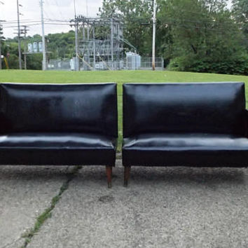 vintage 50s 60s black vinyl sofa sectional 2 piece couch loveseat furniture mid century modern mcm retro atomic home decor decorative sleek
