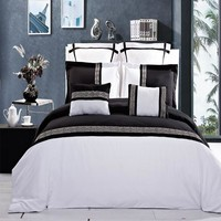 Astrid Black/White Embroidered 7 Piece Duvet Cover Set