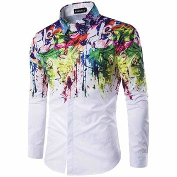 Fashion Wave Luxury Cotton Shirt Men 2016 Brand Designer Slim Long-Sleeved Chemise Homme Casual White Black ink Fancy Shirts Men