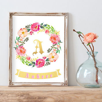 Letter A, Aubree, Nursery decor, Baby letters for wall, Personalized nursery print, Customized gifts for baby, Hospital Door Hanger Girl