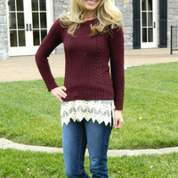 Hot Cider Sweater Burgundy