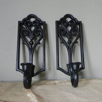 Vintage black candle holders wall sconces graphic gothic swirly