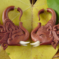 Fake Gauges,tribal style,hand carved,wood Earrings ,Tribal Expander Split,organic,elephants head