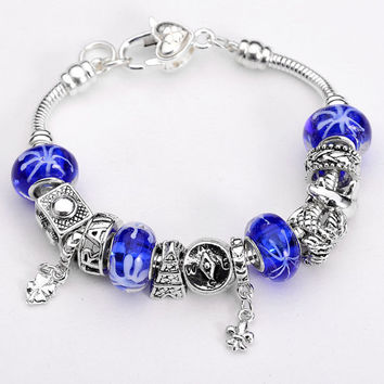 Royal Blue and White Pandora Bracelet-.925 Sterling Silver Bracelet- Fashion Jewelry- Fashion Bracelet-European Charm Beads-Glass Charms