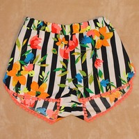 Floral Striped Shorts