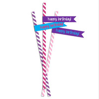 Birthday Party Straw Flags! Matches Disney Frozen Elsa and Tangled Rapunzel Birthday Party Themes! 24 per sheet. Instant Download - Tags