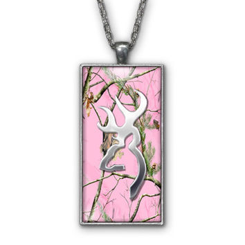 Baby Pink Camo Browning Buckhead Pendant Necklace Jewelry