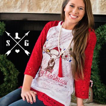 Merry Christmoose Red Hat Raglan Shirt