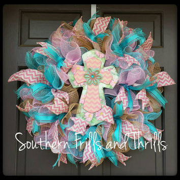 Spring Deco Mesh Wreath, Easter Deco Mesh Wreath, Easter Wreath, Cross Wreath, Spring Wreath, Door Hanger, Burlap Wreath