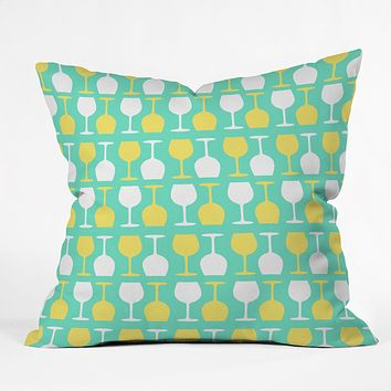 Allyson Johnson Happy Hour Wine Glasses Throw Pillow