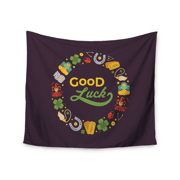"KESS Original ""Good Luck!"" Maroon Multicolor Wall Tapestry"