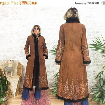 FLASH SALE Vintage 1970's Rainbow EMBROIDERED Suede Afghan Maxi Coat || Penny Lane Almost Famous Boho Coat || Faux Fur || Size Medium
