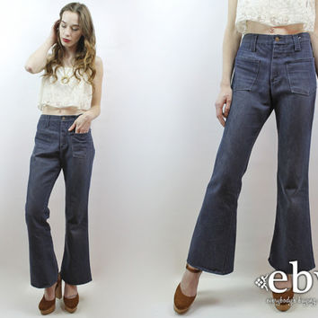 1970s Jeans Vintage 70s High Waisted Jeans M High Waist Jeans 70s Jeans 70s Denim Dark Denim Jeans Hippie Jeans Hippy Jeans Boho Jeans