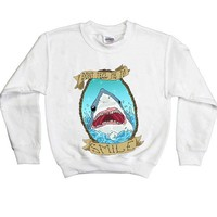 Don't Tell Me To Smile Shark -- Youth Sweatshirt