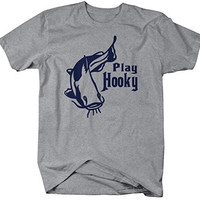 Shirts By Sarah Men's Funny Fishing T-Shirt Play Hooky Shirts For Fishermen