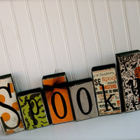 Spooky Blocks Set - Halloween decor Fall Haunt October Spooky Spider Wood Blocks Word Blocks Spooky Blocks Halloween Wood Blocks