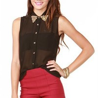 A'GACI Stud Collar Sleeveless Shirt - TOPS