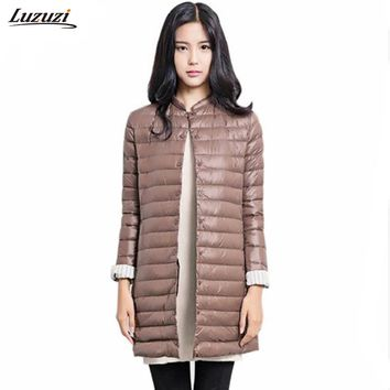 1PC Thin Down Jacket Winter Coat Women Winter Coat Women Long Coats Outerwear Parka Chaquetas Mujer Manteau Femme Z009