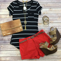 Belted Linen Shorts: Red