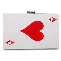 Red Playing Card Pattern Clutch Bag
