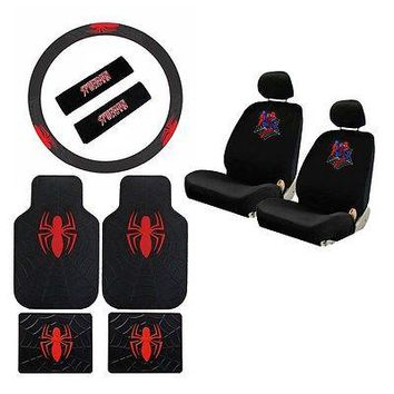 Licensed Official New Spiderman Spider Man Car Seat Covers Floor Mats Steering Wheel Cover