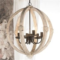 White Washed Wood Sphere Chandelier