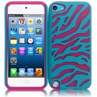 For Apple Ipod Touch 5 5th Generation Zebra PC Silicone Hybrid Cover Case Neon Blue/Hot Pink Accessory