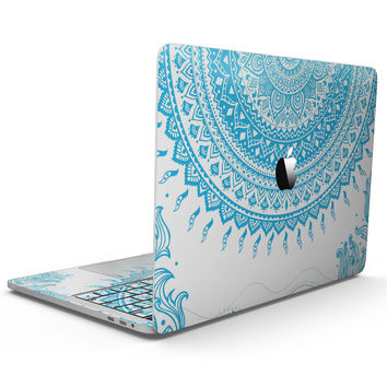 Bright Blue Circle Mandala v3 - MacBook Pro with Touch Bar Skin Kit