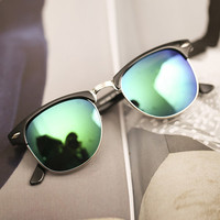 Green Film Lens Reflective Sunglasses