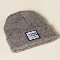 ac spbest Opening Ceremony Patch Beanie Knitted Ski Cap Autumn Winter Warm Fashion Gray Cuffed Skully Hat