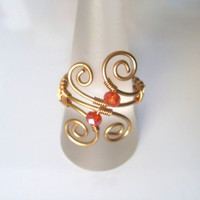 Handmade Gold Plated Red Faceted Glass Bead Wire Wrap Ring, Wire Weave, Spirals