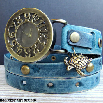 Leather Watch, Women's Watch, Wrap around Watch, Ladies watch, Bracelet Watch, Distressed denim blue watch with turtle charm