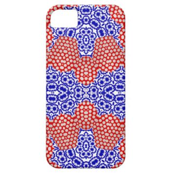 Red Blue White Polka Dot Floral Lacy Pattern Cases iPhone 5 Covers