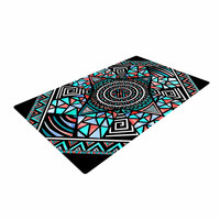 "Pom Graphic Design ""Geo Glass"" Teal Black Woven Area Rug"