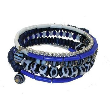 Five Turn Bead and Bone Bracelet - Bright Blue - CFM
