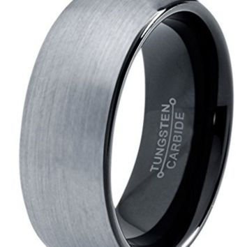 8mm OR 6mm Brushed Domed Tungsten Wedding Ring With Black Inside Enamel Polished