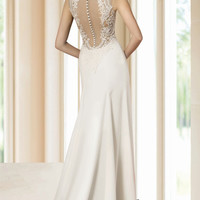 Luxury Wedding gown from Italian super Caddy fabric with Lace back,  Aristocratic gown,  Romantic and Dreamy Wedding Dress, Made to order