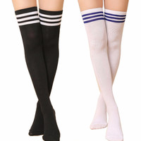 Over Knee Thigh Cotton Striped Socks