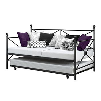 Twin size Black Metal Day Bed Frame and Roll out Trundle Set