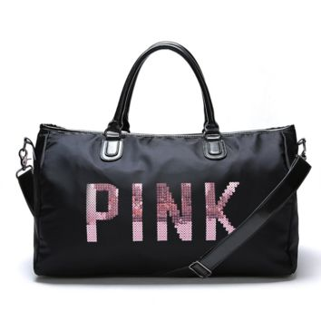 """Victoria""Pink sequins letters overnight bag portable large capacity gym bag waterproof duffel bag"