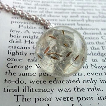 Dandelion Necklace - Bubble Necklace - Spring Time Jewelry - Make a Wish - Pressed Flower Pendant - Summer Jewelry - Spring Jewelry - Flower