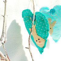 Linen heart with felt easter bunny ornament turquoise or brown polka dot and checked set of 2