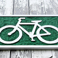 Bicycle art hand carved wall decor wooden bike sign