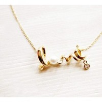 Gold Twisted Love Pearl Necklace | christinepurr - Jewelry on ArtFire